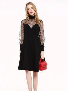 爱客黑色时尚连衣裙