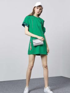 迪笛欧绿色宽松连衣裙