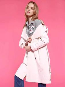 爱客粉色宽松外套