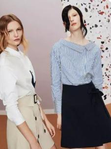 Lily女装2017春夏新品条纹衬衫