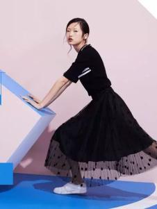 Lily女装2017春夏新品黑色纱裙
