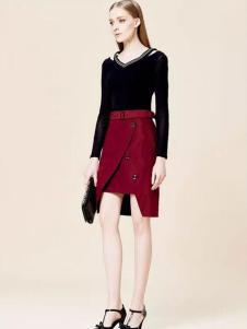 玛琪雅朵2017春装新款酒红色半裙