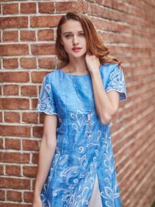 尚约蓝色时尚连衣裙新款