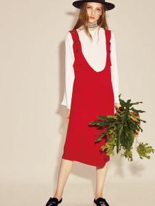 西蔻17春新款文艺连衣裙两件套