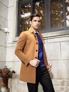 马思图男装土黄色呢大衣