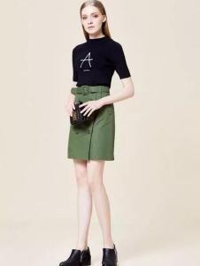 瑪琪雅朵2017春裝新款軍綠色半裙