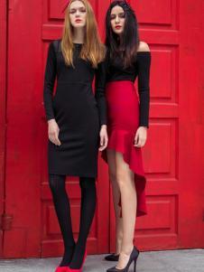 MAXTINA玛仙娜女装红色包臀裙