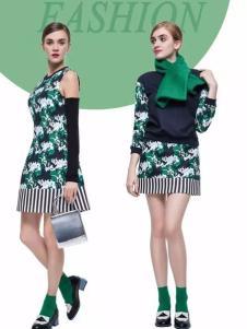loomva洛米唯娅女装绿色无袖印花裙