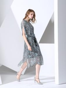 凯伦诗灰色时尚长款连衣裙