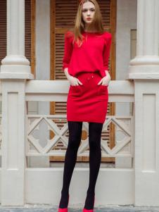 MAXTINA玛仙娜女装红色包臀连衣裙