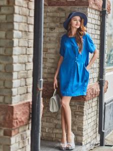 尚约女装春夏蓝色连衣裙