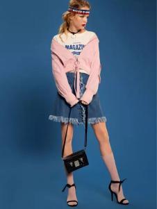 洛呗一女装粉色休闲外套