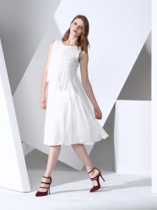 凯伦诗白色时尚背心连衣裙