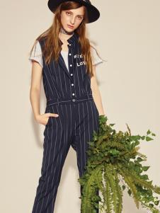西蔻17春夏新款知性时尚条纹套装
