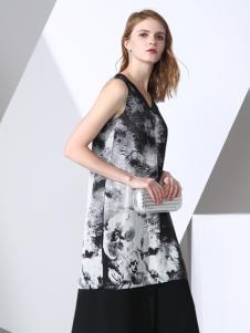 凯伦诗黑白水墨背心连衣裙