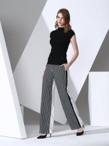 凯伦诗女装春夏条纹女裤