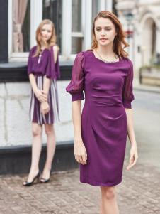 尚约紫色收腰连衣裙