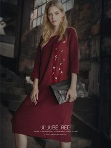 蒙杰诗丹女装酒红色连衣裙