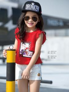 西瓜王子夏季女童红色印花T恤