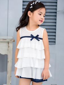 西瓜王子女童白色层叠连衣裙