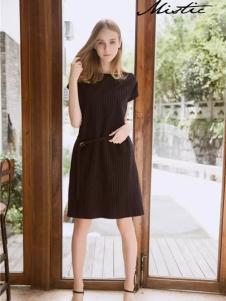 Mistic米丝迪可女装黑色连衣裙
