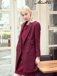 Mistic米丝迪可女装酒红色大衣