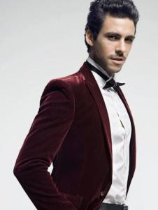 蒙特威斯男装酒红色西装外套