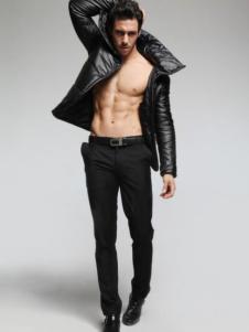 蒙特威斯男装黑色立领外套