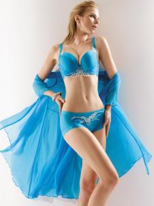 莱特妮丝新款聚拢调整蓝色文胸
