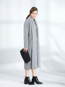 ANMIAO三淼女装灰色长款大衣