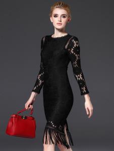 千姿惠黑色蕾丝流苏修身连衣裙