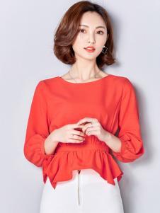 千姿惠红色收腰修身T恤