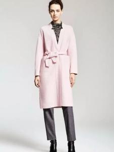 MAAMCHEE缦秋女装粉色无领大衣