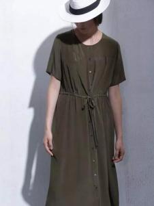 缦秋女装2017春夏新品墨绿色收腰连衣裙