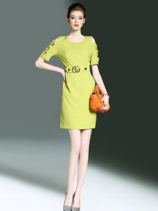 千姿惠2017年黄色修身连衣裙