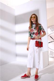 魅之女17新款白色阔腿裤