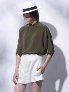 缦秋女装2017春夏新品墨绿色衬衫