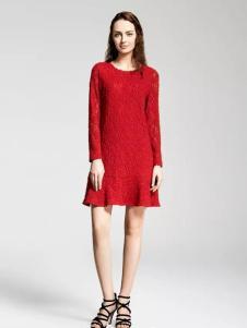 MAAMCHEE缦秋女装红色蕾丝裙