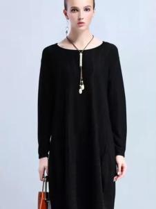 米珂拉女装MIK&LA米珂拉2017春夏新品黑色针织裙