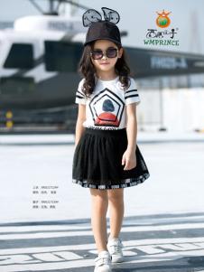西瓜王子女童黑色百褶半裙