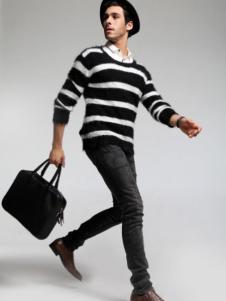 蒙特威斯男装黑白条纹毛衫