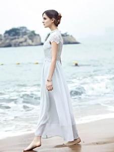 米拉格女装蕾丝拼接雪纺长裙