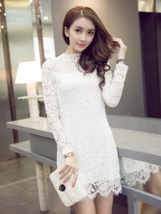 千姿惠白色H版蕾丝连衣裙