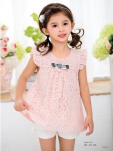 西瓜王子女童粉色蕾丝T恤