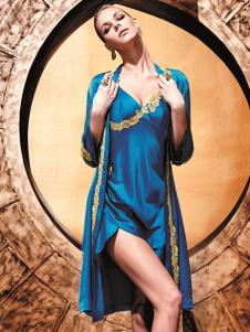 莱特妮丝新款时尚深蓝色睡衣