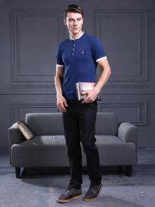 曼维尔男装宝蓝色T恤