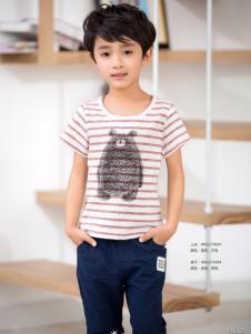 西瓜王子男童条纹卡通T恤