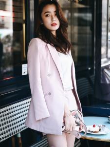 千姿惠2017春季粉色休闲西装