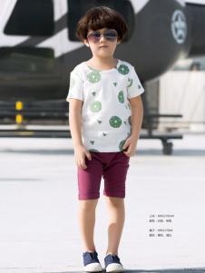 西瓜王子男童白色圆领T恤