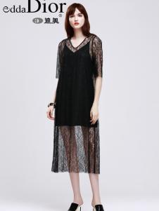 迪奥17夏新款黑色蕾丝连衣裙